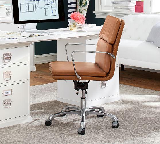 Nash Leather Swivel Desk Chair Pottery Barn