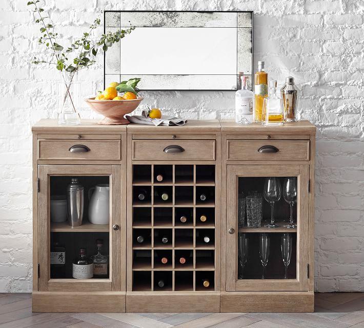 Modular Bar 54 Buffet With Wine Grid Pottery Barn