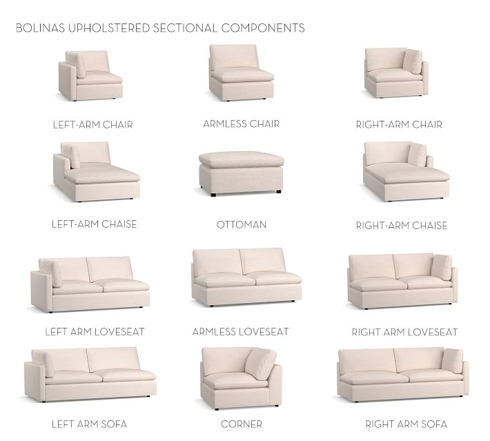 Build Your Own - Bolinas Upholstered Sectional Sofa | Pottery Barn