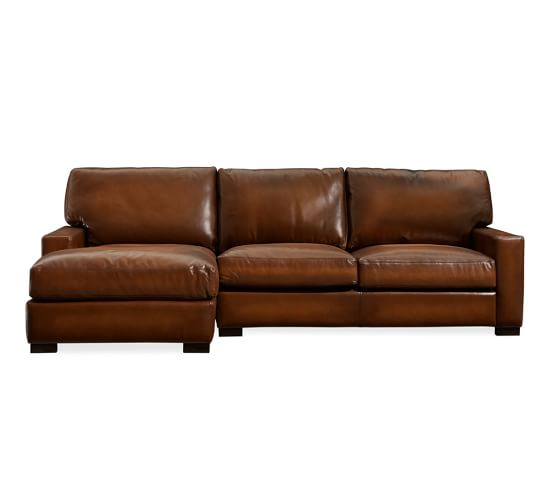 Turner Square Arm Leather Sofa Chaise Sectional | Pottery Barn