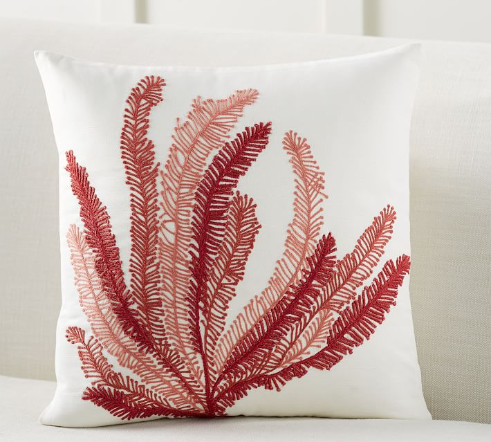 Coral Plant Embroidered Decorative Pillow Cover Pottery Barn