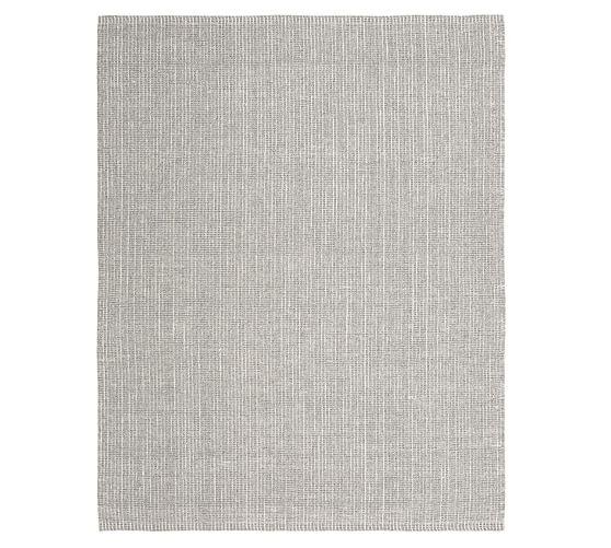 Chunky Wool Jute Rug Gray Ivory