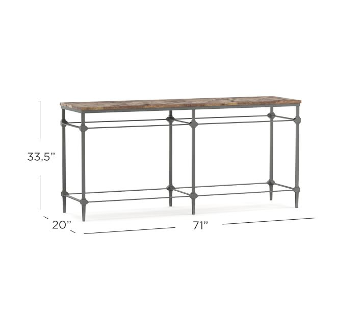 """Parquet 71"""" Reclaimed Wood & Metal Console Table   Pottery ..."""