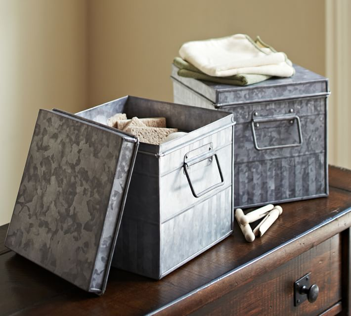 Galvanized Metal Storage Bin Pottery Barn