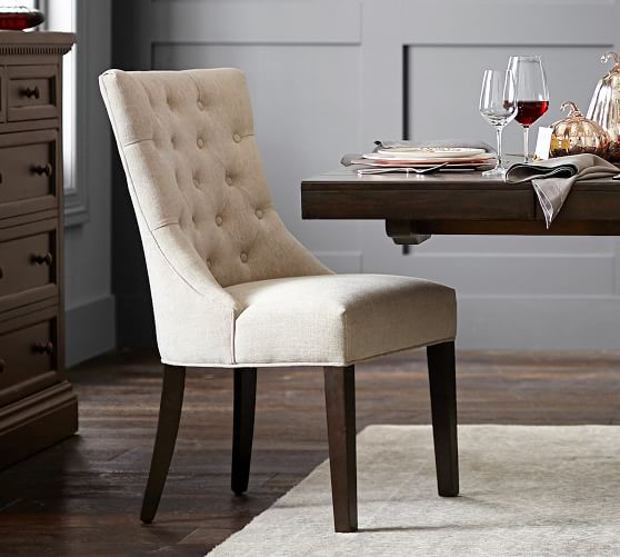 Hayes Upholstered Tufted Dining Chair Pottery Barn
