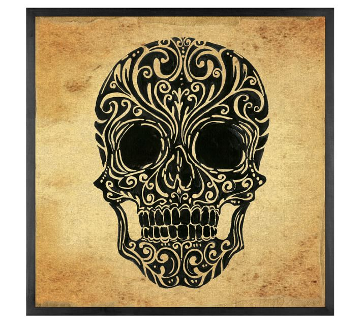 Skull Art Canvas Framed Print Pottery Barn