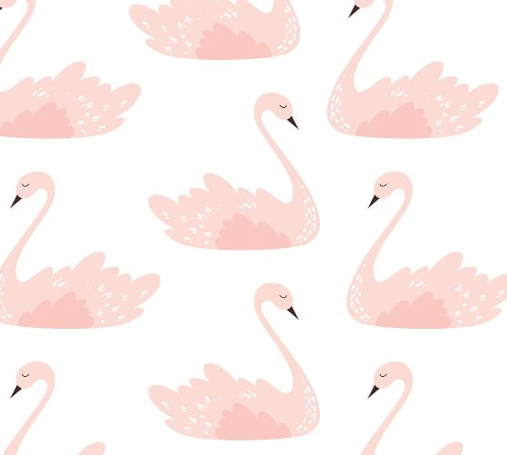 Boho Swan Silver Crown Blush Rose Floral Ivory Pink Wall Decal Sticker Pink Forest Cafe