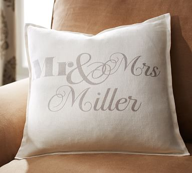 Personalized Mr Mrs Decorative Pillow Cover Pottery Barn
