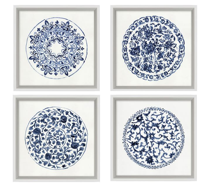 Porcelain Blue Framed Paper Prints