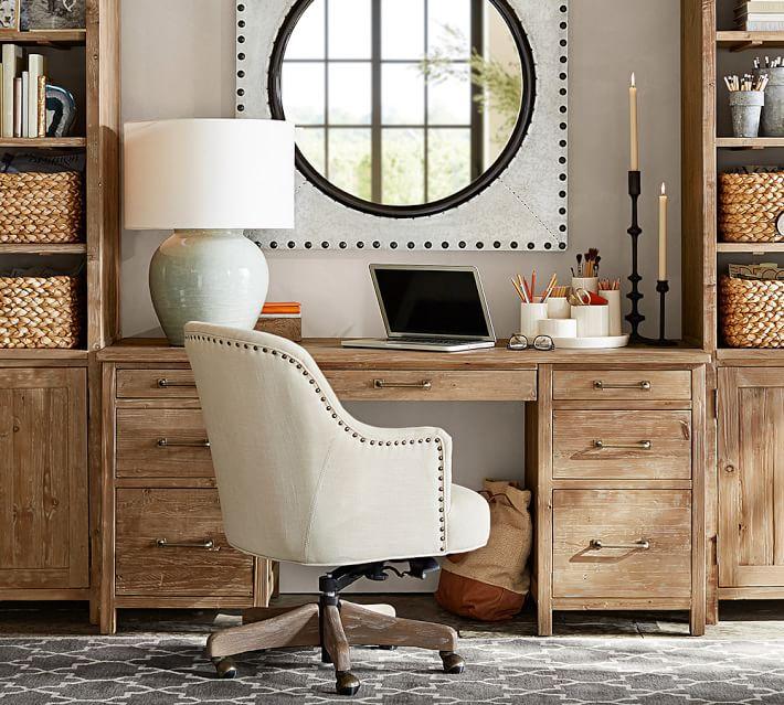 Reeves Upholstered Swivel Desk Chair Pottery Barn