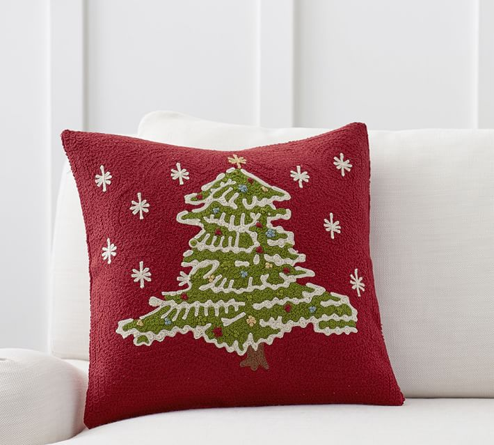 Christmas Tree Crewel Embroidered Decorative Pillow Cover Pottery Barn