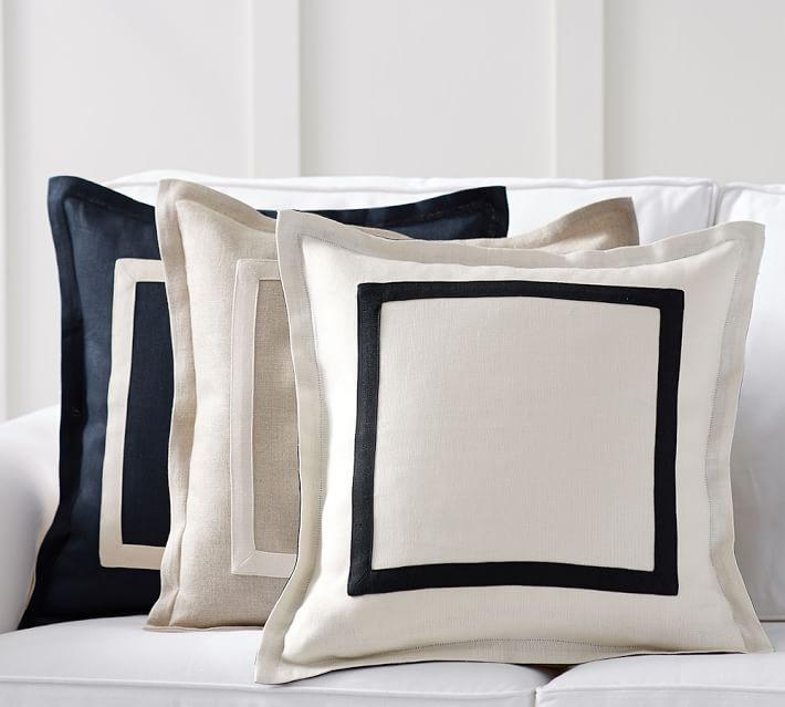 Textured Linen Frame Pillow Cover Pottery Barn