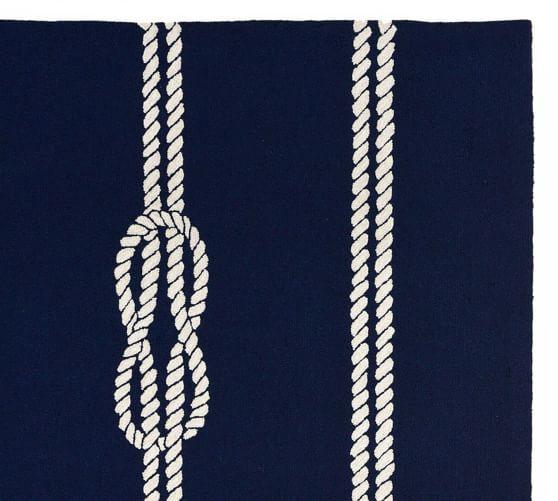 Nautical Rope Indoor Outdoor Rug Navy