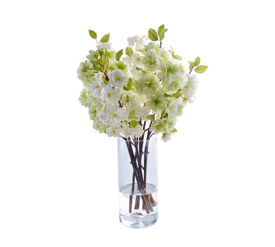Faux Cherry Blossoms In Tall Glass Vase Artificial Flowers Pottery Barn,Kitchen Garden Window Ideas