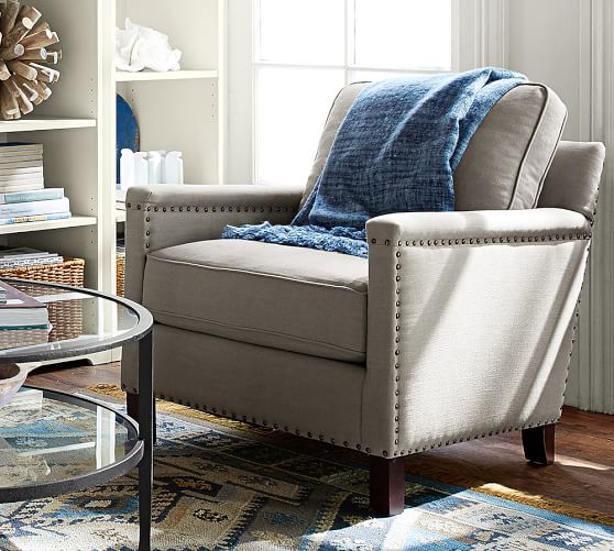 Tyler Upholstered Square Arm Armchair With Nailheads Pottery Barn