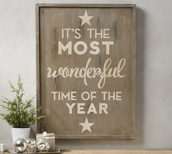 It S The Most Wonderful Time Of The Year Sign Grey Wall Decor Pottery Barn