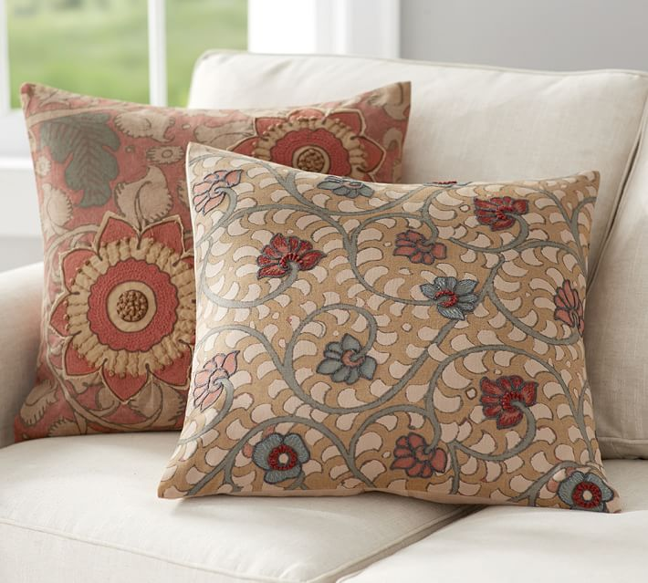 Geena Madhubani Embroidered Decorative Pillow Covers Pottery Barn