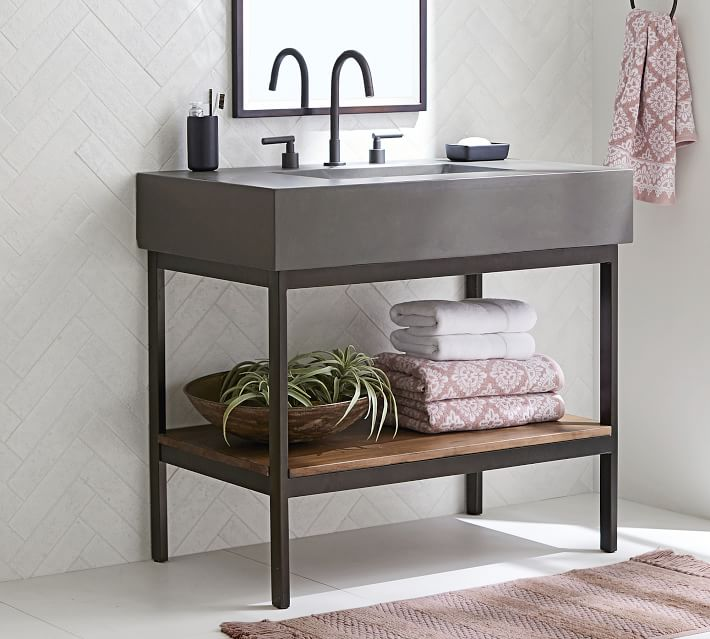 Frances 36 Concrete Top Single Sink Vanity Pottery Barn