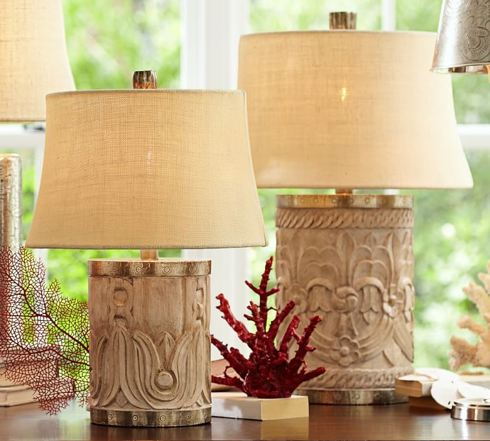 Rowan Carved Wood Table Lamp Bases Pottery Barn