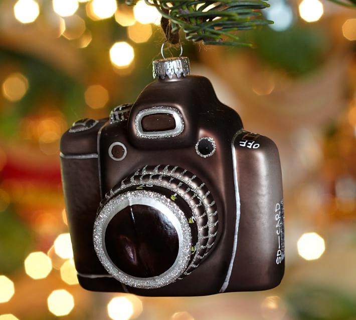 Vintage Camera Glass Christmas Ornament Pottery Barn