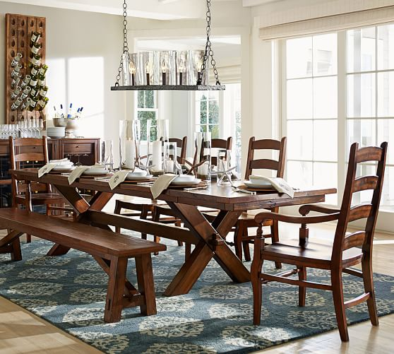 Perfect Pair Toscana Extending Dining Table With Toscana Bench Wynn Chair Pottery Barn