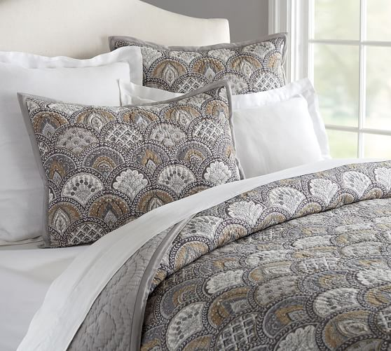 NEW Pottery Barn Marcy Quilted Standard Sham Blue Green Multicolored