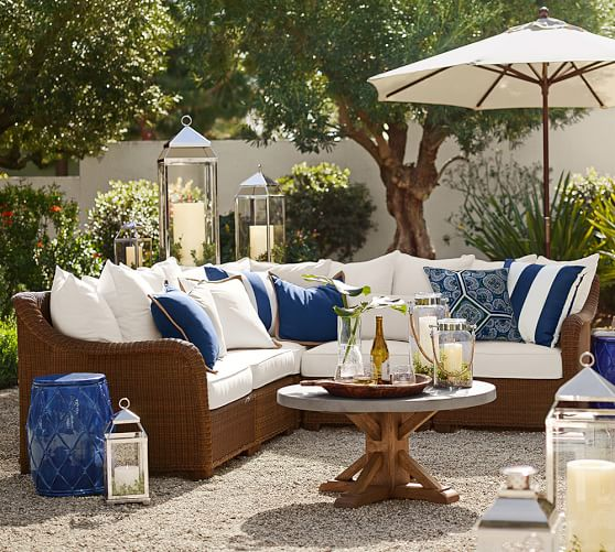 Build Your Own - Palmetto All-Weather Wicker Sectional Components, Honey