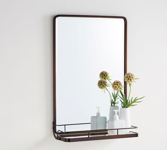 Vintage Rounded Rectangular Mirror With Shelf Pottery Barn