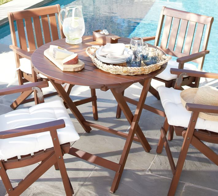 Chatham Fsc Mahogany Folding Bistro Table Honey Pottery Barn