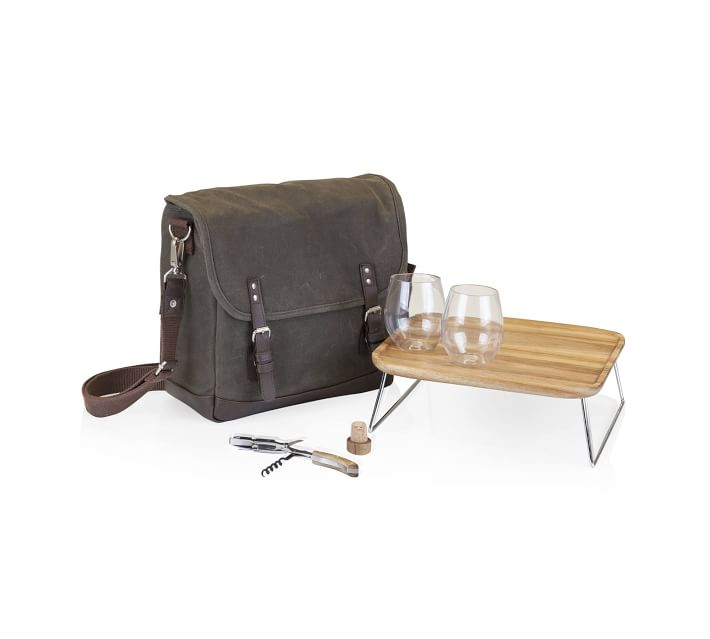 Greenpoint Waxed Canvas Picnic Bag Set For 2 Pottery Barn