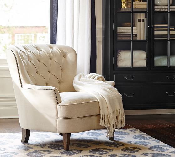 Cardiff Tufted Upholstered Armchair With Nailheads Pottery Barn