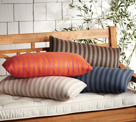 Sunbrella Cannon Indoor Outdoor Lumbar Pillow Pottery Barn