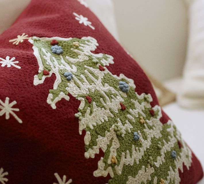 Christmas Tree Crewel Embroidered Decorative Pillow Cover