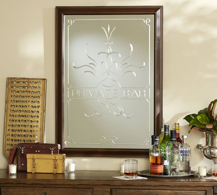 Private Bar Etched Mirror Pottery Barn