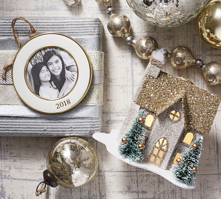 2017 Dated Enamel Frame Ornament Round Pottery Barn