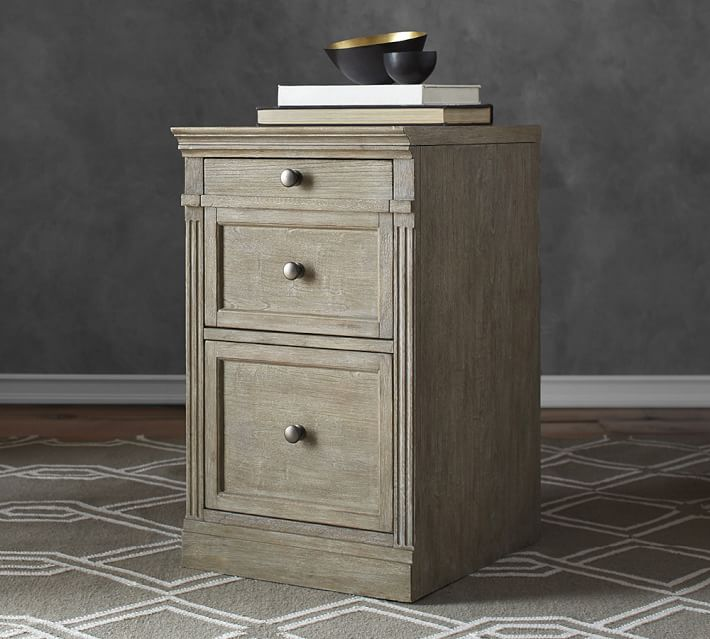 Gray Wash Livingston Single 2 Drawer Filing Cabinet Pottery Barn