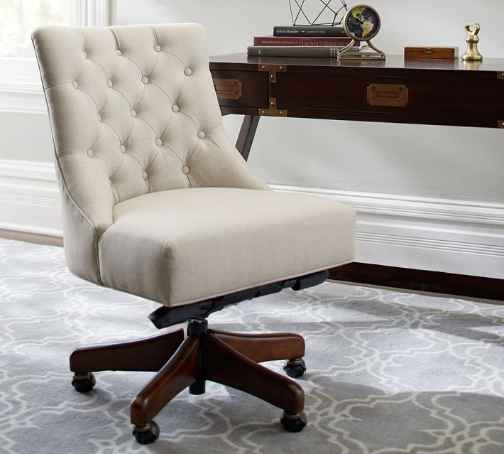 Hayes Tufted Swivel Desk Chair Pottery Barn