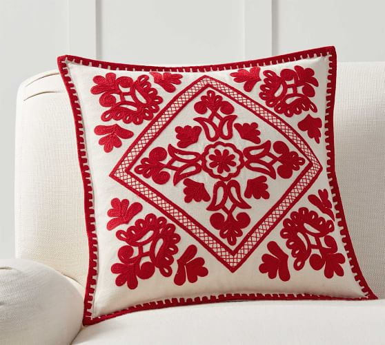 Elsie Embroidered Pillow Cover Pottery Barn
