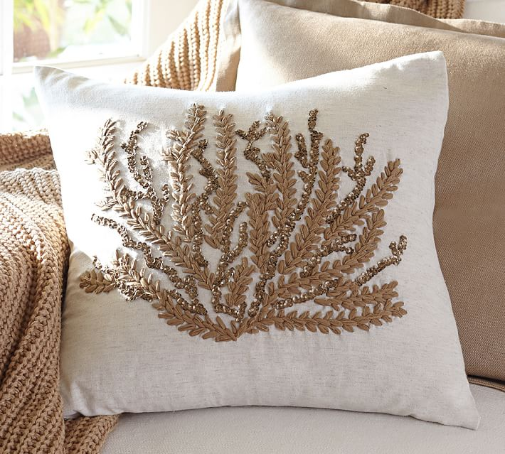 Caicos Coral Embroidered Decorative Pillow Covers Pottery Barn