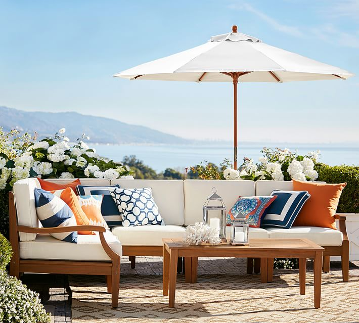 Hampstead Teak Outdoor Sectional, Sectional Patio Furniture Clearance