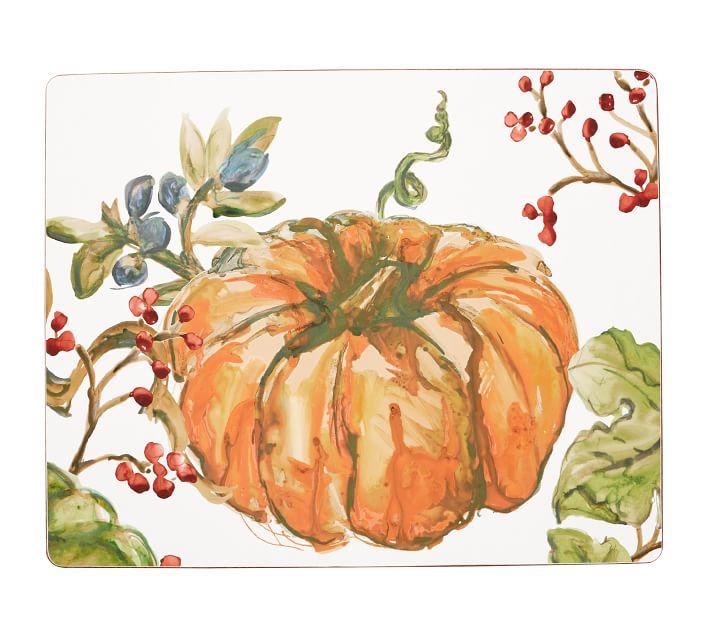 Harvest Pumpkin Cork Placemat Set Of 4 Pottery Barn