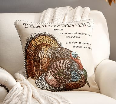Turkey Sentiment Decorative Pillow Cover Pottery Barn