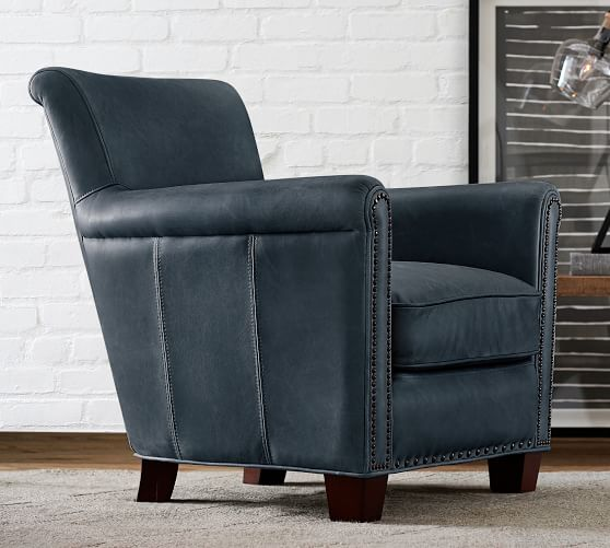 Irving Roll Arm Leather Armchair with Nailheads | Pottery Barn