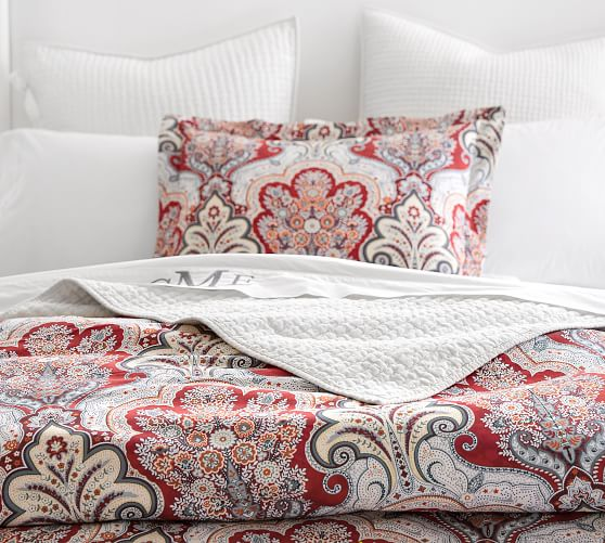 Pottery Barn Isabelle Paisley Standard Bed Pillow Sham Red Ivory Quilted