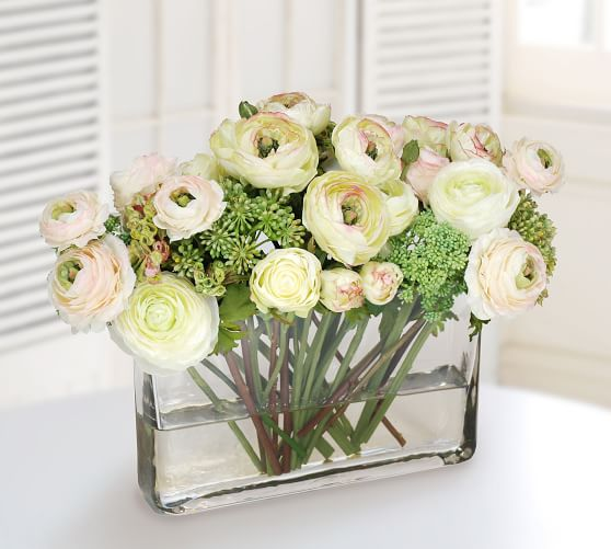 Faux Ranunculus Rose Mix In Glass Rectangle Vase Artificial Flowers Pottery Barn