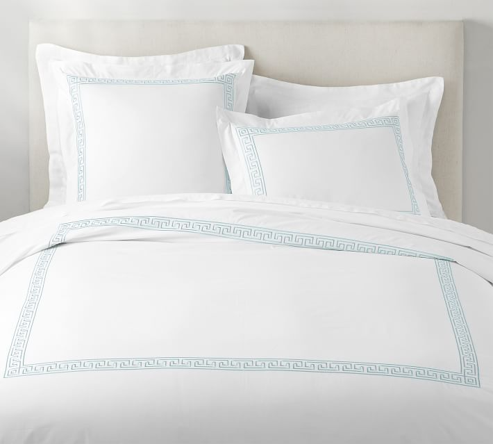 Geo Embroidered Organic Percale Duvet Cover Amp Shams