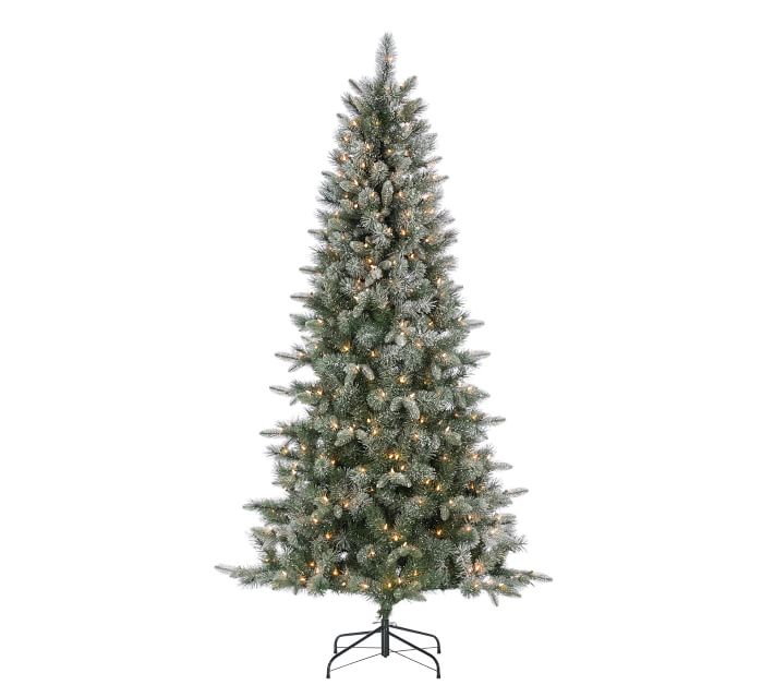 7ft Pre-Lit Flocked Glitter Artificial Christmas Tree ...