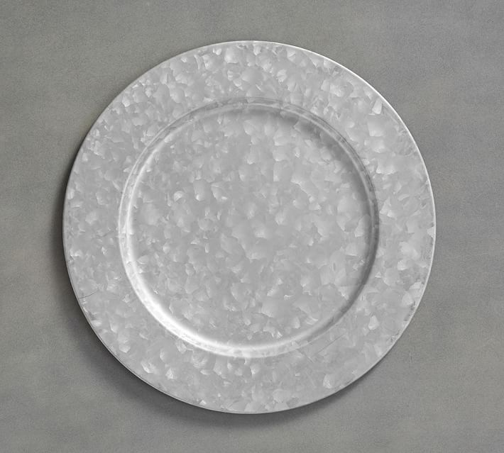 Galvanized Metal Charger Plates Pottery Barn