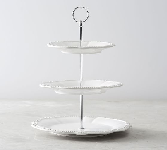 Leila Scalloped Three Tiered Stand Pottery Barn