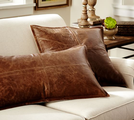Pieced Leather Pillow Covers Pottery Barn